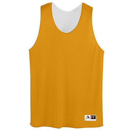 (Augusta Sportswear Men's Tricot mesh Tank, Gold/White,)
