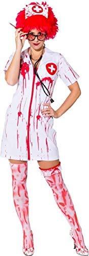 Ladies Killer Nurse Zombie Uniform Bloody Emergency Services Halloween Horror Fancy Dress Costume Outfit (UK 8-10 (EU -