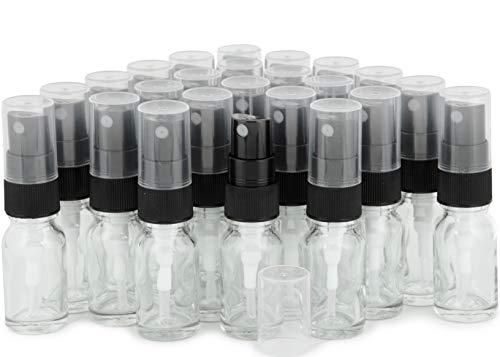 Vivaplex, 24, Clear, 10 ml (1/3 oz) Glass Bottles, with Black Fine Mist Sprayer's ()
