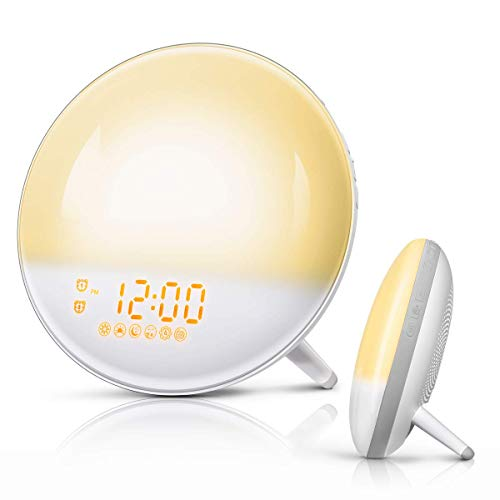 FimiTech Wake Up Light, Alarm Clock 7 Colored Sunrise Simulation and Sunset Fading, Dual Alarm Clock with 7 Natural Sound and FM Radio for Kids Adults Bedroom