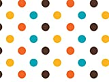 Pack Of 1, 40''X100' Hot Dots (Yellow, Orange, Brown & Turquoise) Classic Print Cello Rolls 1.0 Mil Made In USA