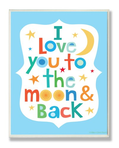 The Kids Room by Stupell I Love You To The Moon And Back On Blue Background Rectangle Wall Plaque, 11 x 0.5 x 15, Proudly Made in USA by The Kids Room by Stupell