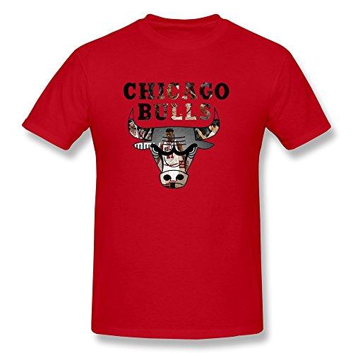 YHYT Men T-Shirt NBA Chicago Bulls 2015 Crew Neck XXL Red