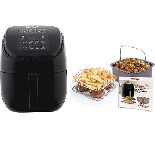 Nuwave 3 qt. Brio Air Fryer (Black) with Gourmet Accessory Kit (3 Kit Quart)