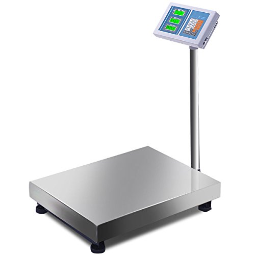 Giantex 660lbs Floor Platform Scale Postal Scale Accurate Weight Computing Digital Scale Shipping Mailing LB/KG Price Calculator Stainless Steel High-Definition Display (Industrial Scale)