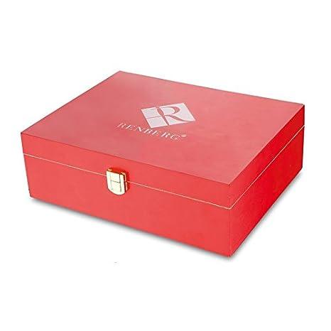 Caja de madera en rojo para bolsas de té (lata para guardar té, –