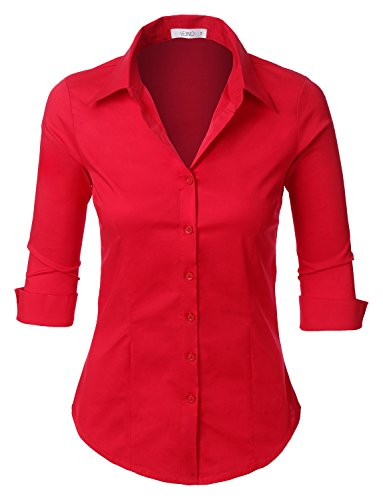 LE3NO Womens Roll Up 3/4 Sleeve Button Down Shirt with Stretch, L3NWT574A_RED, X-Large