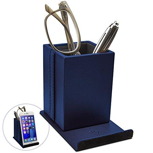 (Optix 55 Elegant Glasses Holder – Premium Blue Faux Leather, Soft Velvet Lining, Non Skid Felt Bottom - Phone Eyeglass Holder Stand and Multipurpose Organizer for Eyewear, Pens and Office Supplies)