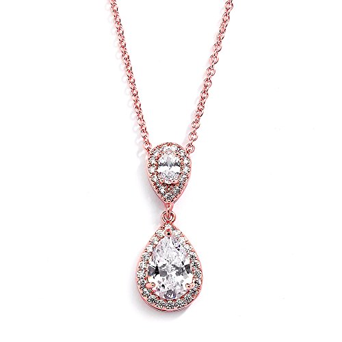 Mariell Rose Gold Pear-Shaped Cubic Zirconia Teardrop Bridal Necklace Pendant - Blush Wedding Jewelry ()