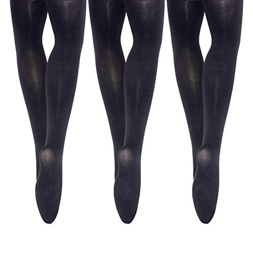 MANZI 3 Pairs Girls Footed Ballet Dance Tights 40 Denier Black L(11-14 year)
