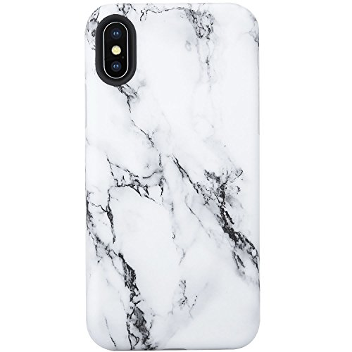 VIVIBIN iPhone X XS Case,Cute Black and White Marble for Men Women Girls Clear Bumper Soft Silicone Rubber Matte TPU Cover Slim Fit Best Protective Thin Phone Case for iPhone X XS 5.8 inch