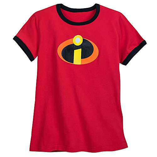 Disney Incredibles Logo Ringer T-Shirt for Womens M Red - Logo Womens Ringer T-shirt