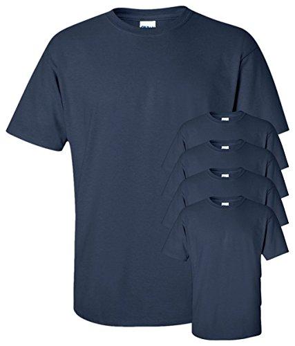 Gildan Men's Seamless Double Needle T-Shirt, Navy, L (Pack of 5)