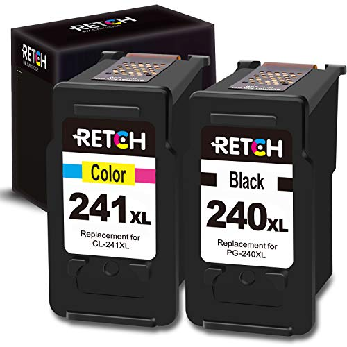 RETCH Re-Manufactured Ink Cartridge Replacement for Canon PG-240XL 240 XL CL-241XL 241 XL for Canon PIXMA MG3620 MX472 MX452 MG3220 MG3520 MG2220 MX532 TS5120 MX432 (1 Black 1 Tri-Color) (Ink Cannon 241)
