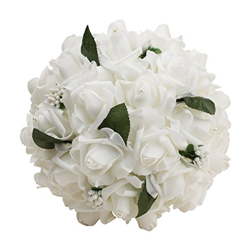VLoveLife Wedding Bouquet White Artificial Rose Flowers