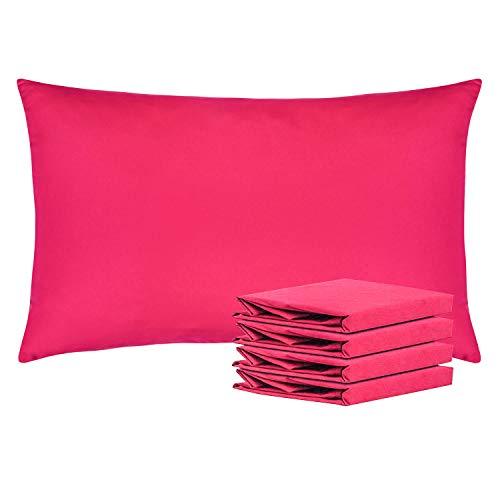 NTBAY Queen Pillowcases Set of 4, 100% Brushed Microfiber, Soft and Cozy, Wrinkle, Fade, Stain Resistant, with Envelope Closure, Magenta (Magenta Home)