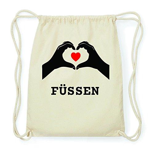 JOllify FÜSSEN Hipster Turnbeutel Tasche Rucksack aus Baumwolle - Farbe: natur Design: Hände Herz 7X14ce