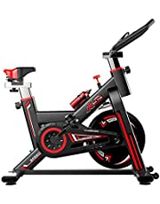 Spinning Bike Workout Bike Indoor Stationary Fitness Bike Cycling Bike 18 LB Flywheels Silent Belt Drive with Resistance System for Home Cardio Training