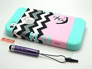 iPhone 4 Case, Hybrid Hard Plastic Soft Rubber Pink Anchor Mint Blue Skin