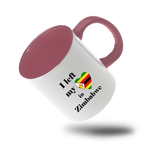 Style In Print I Left My Heart In Zimbabwe Coffee Tea Colored Inside And Handle Mug White/Pink