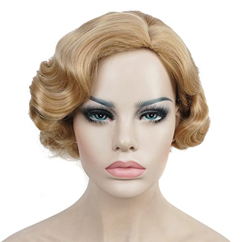 (Lydell Vintage Cosplay Party Wig Light Butterscotch Short Finger Wavy Flapper)