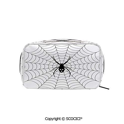 Rectangle Organizer Toiletry Makeup Bags Pouch Poisonous Bug Venom Thread Circular Cobweb Arachnid Cartoon Halloween Icon Decorative Portable Makeup Brushes Bag -