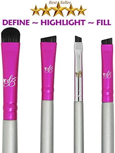 Eyebrow Brush Small Angled Brow - Firm Angle Brushes Stiff Hair - Eyebrow Concealer Brush Amazing Brow Filling Contour Definer Brocha De Cejas Duo Spoolie Defined Arches Precision Shaping Eye Brow Set