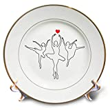 3dRose Alexis Design - Ballet - Three Black Outlined Ballerina Silhouettes on White. Red Heart Image - 8 inch Porcelain Plate (cp_294604_1)