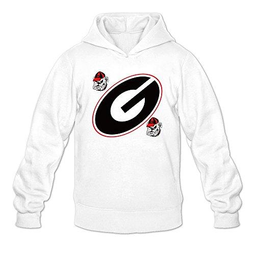 Man's Uga Georgia Bulldogs Mascot Sport Logo Hoodies White (Bulldogs Watch Sport)
