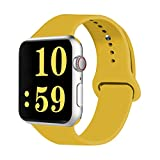 VATI Sport Band Compatible for Apple Watch Band 42mm 44mm, Soft Silicone Sport Strap Replacement Bands Compatible with 2018 iWatch Apple Watch Series 4/3/2/1, 42MM 44MM S/M (Yellow)