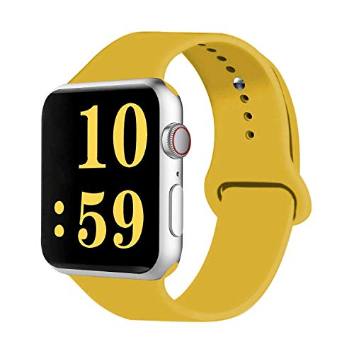 VATI Sport Band Compatible with Watch Band 40mm 44mm 42mm 38mm, Soft Silicone Sport Strap Replacement Bands Compatible with 2018 Watch Series 4/3/2/1, 42MM 44MM S/M (Yellow)