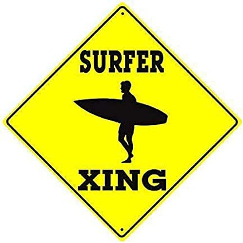HAHUHU Surfer Boy with Surfboard Surf Beach Crossing Caution Signs Aluminum Metal Signs Vintage Warning Signs for Home Decor Yard Gate Sign 12