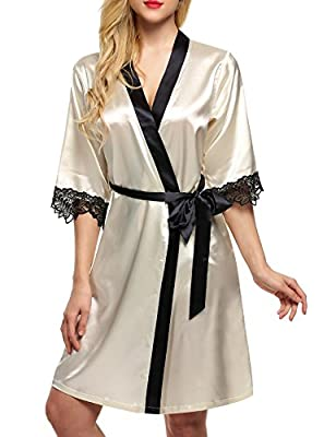 TelDen Women's Kimono Robe Knee Length Lingerie Sleepwear Short Satin