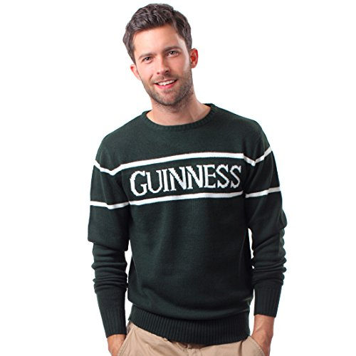 Official Guinness Men's Knit Jumper With White Guinness Text, Bottle Green (Hoody White Text Green)
