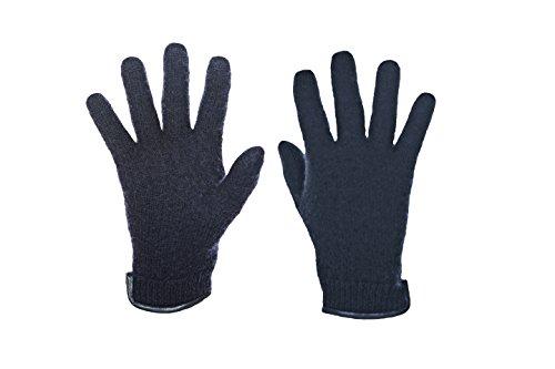 Janus 100% Merino Wool Men's Women's Gloves W/Genuine Leather Trim Made in Norway (Large, Black)