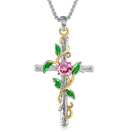 GEORGE · SMITH White Gold Pendant Necklace 14K Gold Plated Birthday Gifts Necklaces for Women Girls, Crystals from Swarovski ()