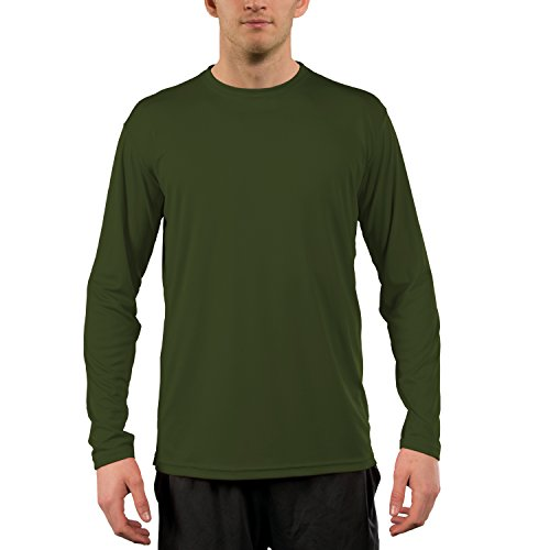 (Vapor Apparel Men's UPF 50+ UV Sun Protection Performance Long Sleeve T-Shirt Large OD Green)