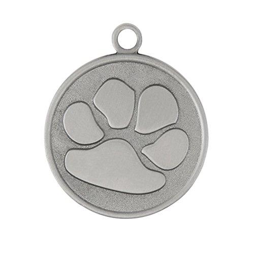 Designer Paw Dog Tag - Silver - 1 1/8 Inch Diameter