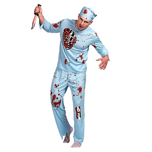 TINGSHOP Zombie Surgeon Costume, Adult Malewalking Dead Doctor Costume Gory Blood Splattered Fancy Dress Costume Masquerade Cosplay Party Performance Clothes Haunted House Props,Blue,M -