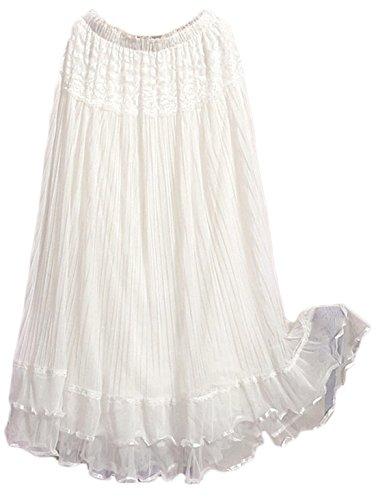 Chouyatou Women's Expandable Waist Lace Gauze Flowy Maxi Skirt (One Size, White)