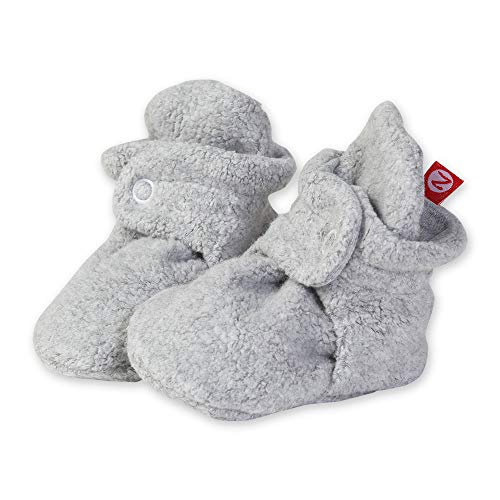 Zutano Cozie Fleece Baby Booties with Cotton Lining, Unisex, for Newborns, Infants, and Toddlers, Heather Gray, 3M-6M