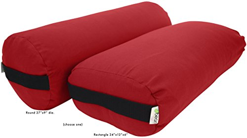 Yoga Bolster - Cotton Rectangle - Red