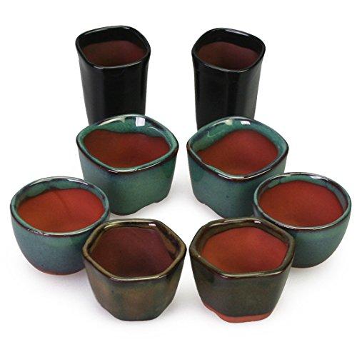 Happy Bonsai 8 Mini Glazed Pots - Glazed Bonsai Pot
