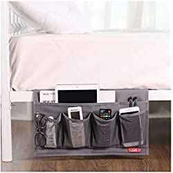 Zafit 6 Pockets Bedside Storage Organizer, Table cabinet Storage Organizer Bedside Organizer Caddy for Remotes Phone Glasses (Grey)