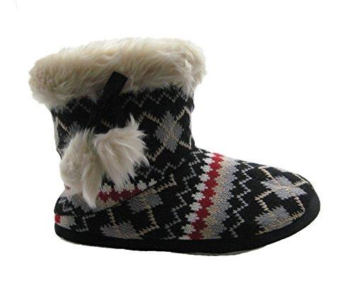 sle Lined Bootie Slippers w/Cozy Faux Fur Trim & Pompoms (L / 8-8.5, Black) ()