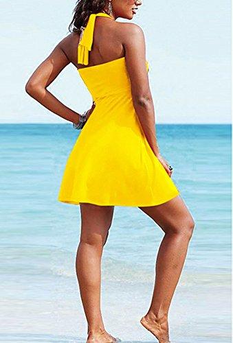 Abito Giallo Puro Maniche Vestito Capestro Senza Spiaggia Colore Donna gZqScwPP