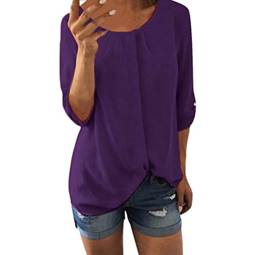 Price comparison product image Clearance Sale! Wintialy Women Casual Chiffon O Neck Three Quarter Sleeve T-Shirt Tank Blouse Top
