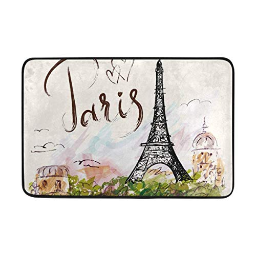 AUUOCC Doormat, Kitchen Bathroom Floor Carpet Mat, Doormat Paris Eiffel Tower Painting Lightweight Non Slip Door Mats Indoor Bathroom Kitchen Decor Rug Mat Welcome Doormat 15.7