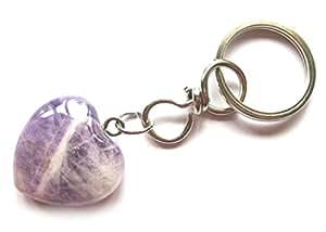 Llavero corazón en forma de corazón de amatista - fabricado en piel de la piedra preciosa Schlsselbundanhnger, Glcksbringer para el amor