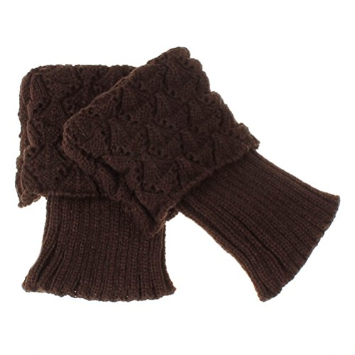 Sipaya Women's Wool Cable Solid Thick Brown Leg Warmers Short Boot Cuffs - Adult Wide Leg